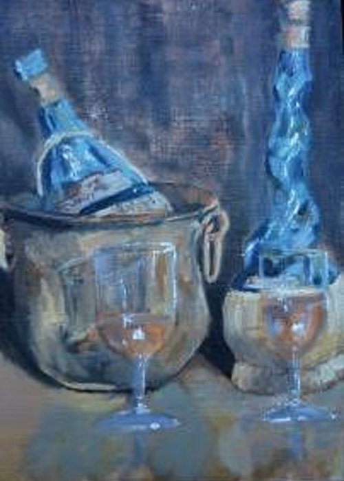 Still Life In Warm Blues; Copper; Ambers Greeting Card featuring the painting Brass And Glass by Bryan Alexander