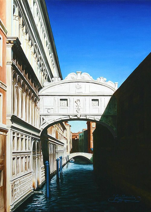 Bridge Of Sighs Greeting Card featuring the painting Bridge Of Sighs Venice Italy by Gary Hernandez
