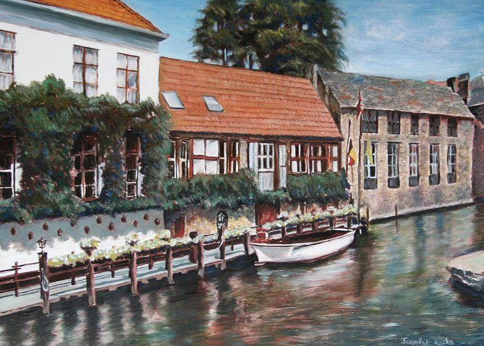 Belgium Greeting Card featuring the painting Bruges Boat in Belgium by Jennifer Lycke