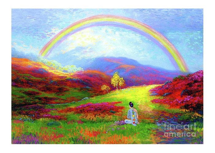 Meditation Greeting Card featuring the painting Buddha Chakra Rainbow Meditation by Jane Small