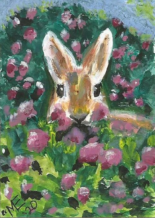 Bunny Painting Greeting Card featuring the painting Bunny by Monica Resinger