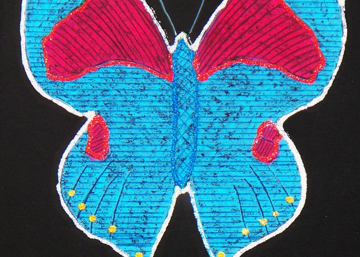 Drawing Greeting Card featuring the mixed media Butterfly by Sergey Bezhinets