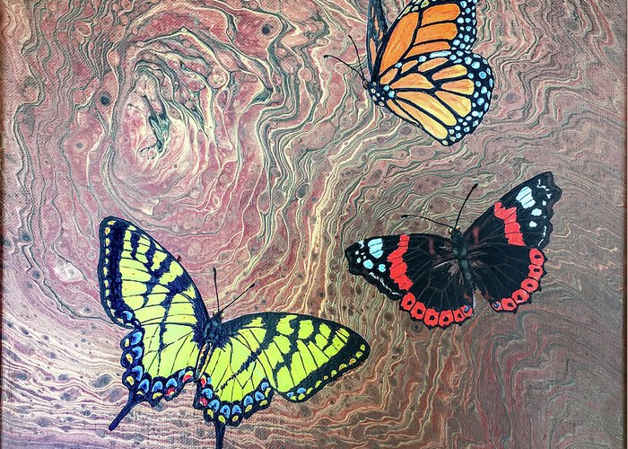 Butterflies Greeting Card featuring the painting California Butterflies by Lucy Arnold