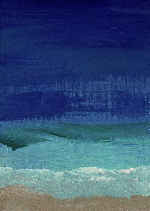 Abstract Art Greeting Card featuring the painting Calm Waters- Abstract Landscape Painting by Linda Woods