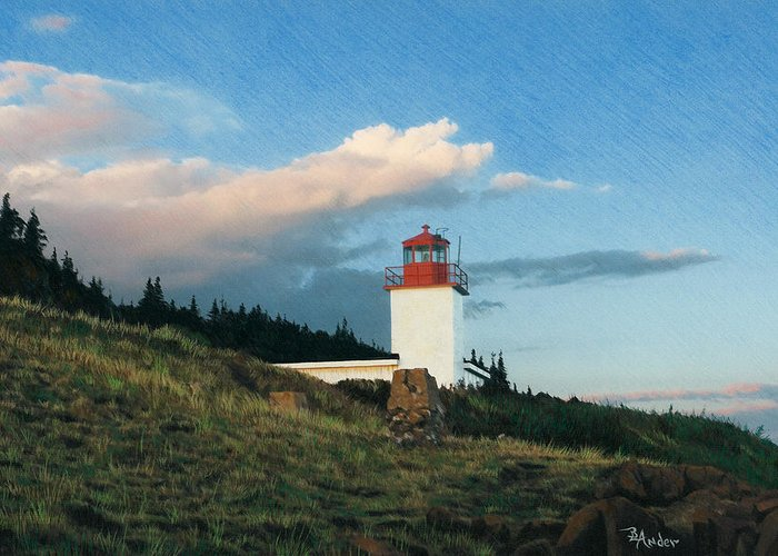 Lighthouse Greeting Card featuring the drawing Cape D'Or by Brent Ander