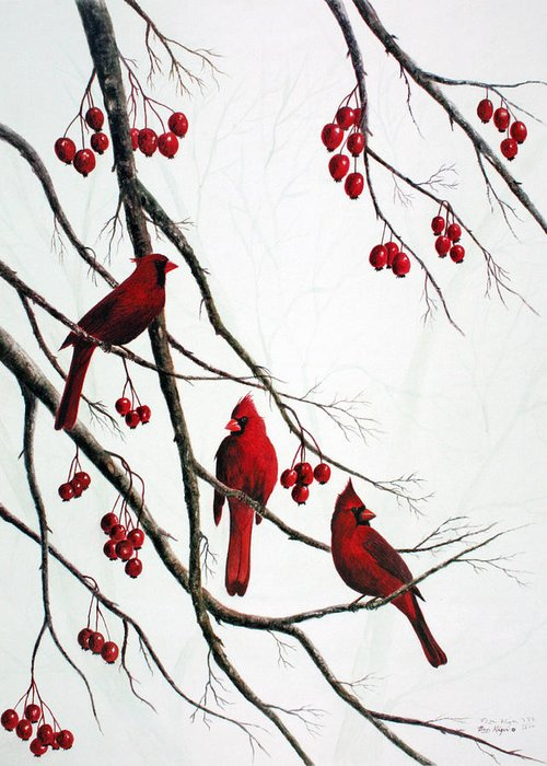 Birds; Cardinals; Trees Greeting Card featuring the painting Cardinals And Crabapples by Ben Kiger