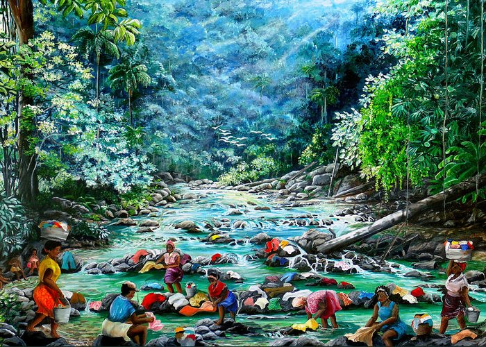 Land Scape Painting River Painting Mountain Painting Rain Forest Painting Washerwomen Painting Laundry Painting Caribbean Painting Tropical Painting Village Washer Women At A Mountain River In Trinidad And Tobago Greeting Card featuring the painting Caribbean Wash Day by Karin Dawn Kelshall- Best