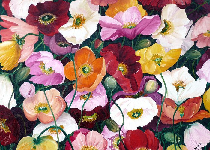 Flower Painting Floral Painting Poppy Painting Icelandic Poppies Painting Botanical Painting Original Oil Paintings Greeting Card Painting Greeting Card featuring the painting Cascade Of Poppies by Karin Dawn Kelshall- Best
