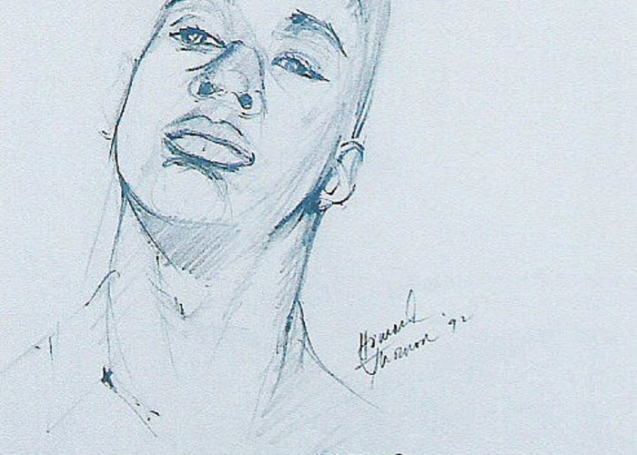 Portrait Greeting Card featuring the drawing Cassius by Howard Stroman