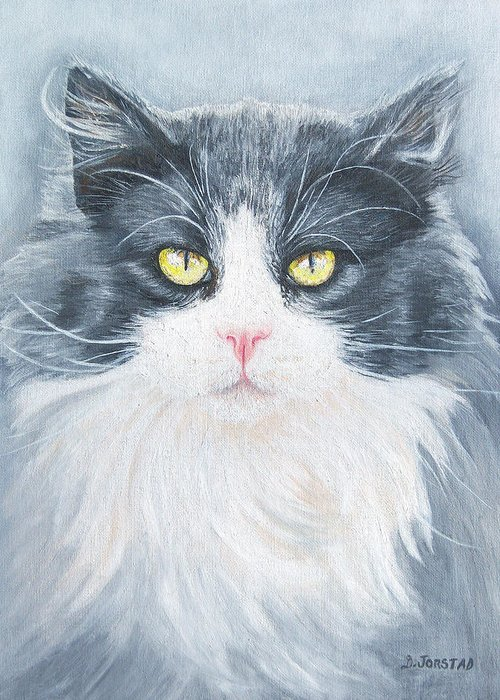 Pet Portrait Artist Greeting Card featuring the painting Cat Print Pet Portrait Artist For Hire Commission by Diane Jorstad
