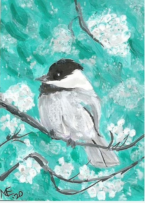 Chickadee Painting Greeting Card featuring the painting Chickadee by Monica Resinger