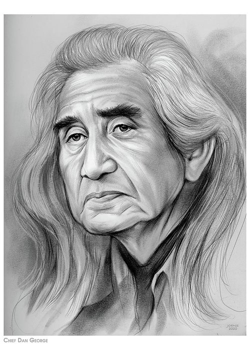 Chief Dan George Greeting Card featuring the drawing Chief Dan George - Pencil by Greg Joens