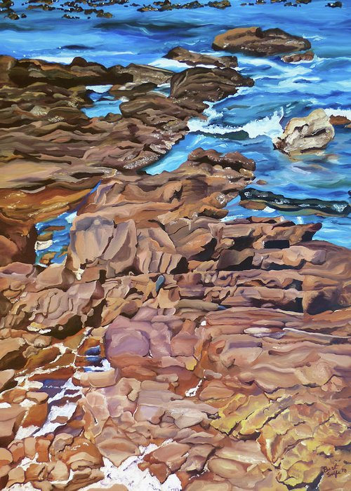 Geology Greeting Card featuring the painting Chilean Coast by Brittany Bert Selfe