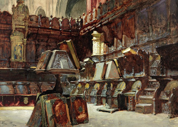 Henri Regnault Greeting Card featuring the painting Choir Stalls In A Spanish Cathedral by Henri Regnault