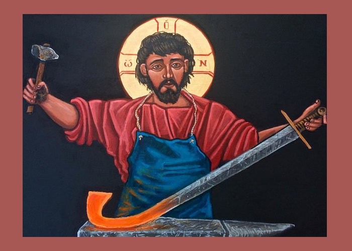 Iconography Greeting Card featuring the painting Christ Swords into Plowshares by Kelly Latimore