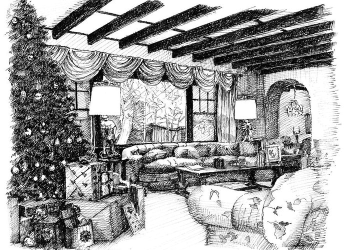 Christmas Greeting Card featuring the drawing Christmas Home by Arthur Fix