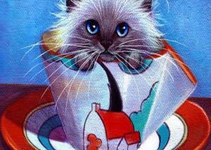 Whimsy Greeting Card featuring the painting Clarice Cliff Tea Time Himi by L Risor