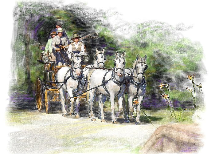 Horse Greeting Card featuring the painting Coaching In Acadia- Carriage Driving Four In Hand by Connie Moses