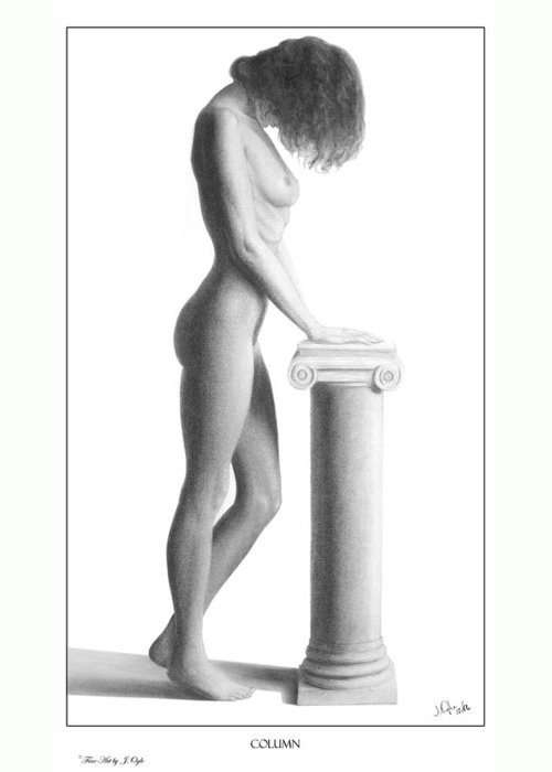 Print Greeting Card featuring the drawing Column by Joseph Ogle