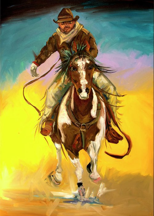 Cowboy Greeting Card featuring the painting Coming at You by Diane Whitehead