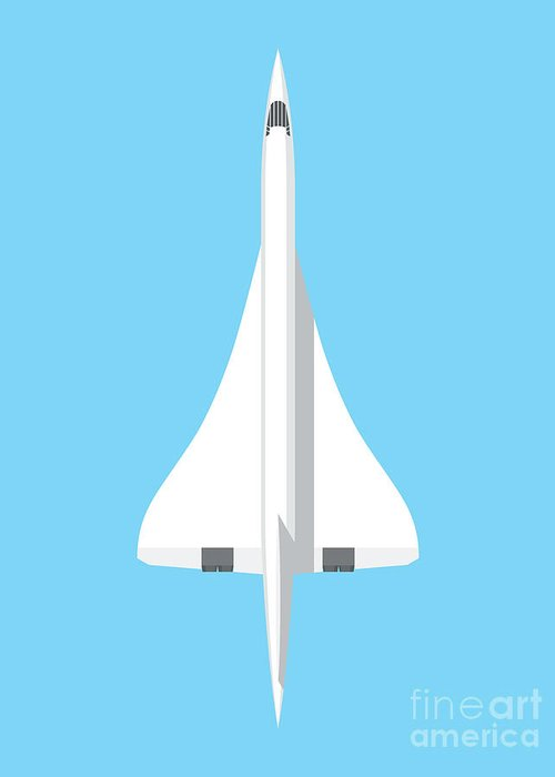 Concorde Greeting Card featuring the digital art Concorde Jet Airliner - Sky by Organic Synthesis