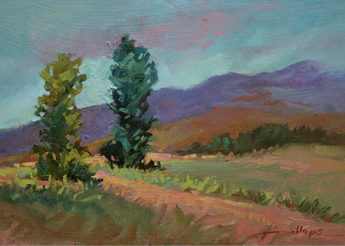 Cottonwood Paintings Greeting Card featuring the painting Cottonwoods by Betty Jean Billups