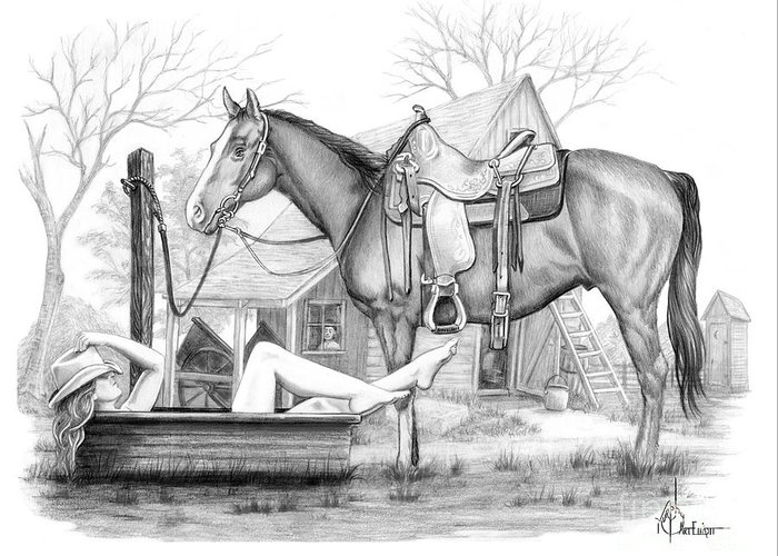 Drawing Greeting Card featuring the drawing Cowgirl Bathing drawing by Murphy Art Elliott