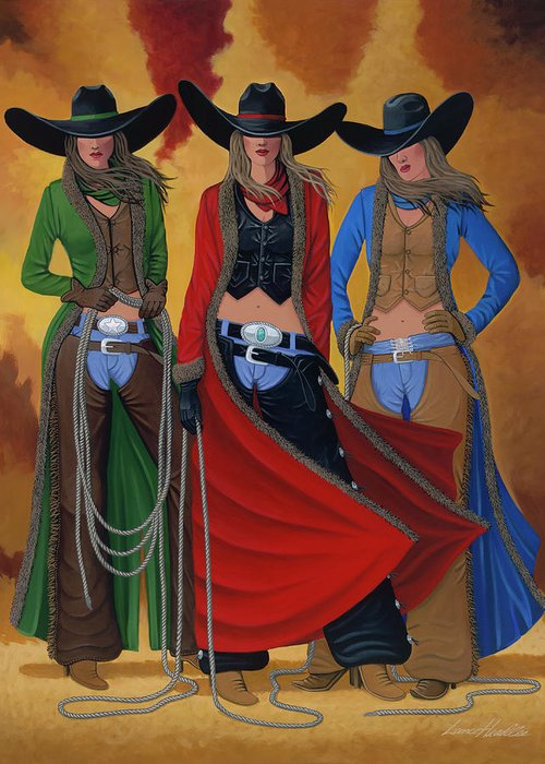 Cowgirl Greeting Card featuring the painting Cowgirl Up by Lance Headlee