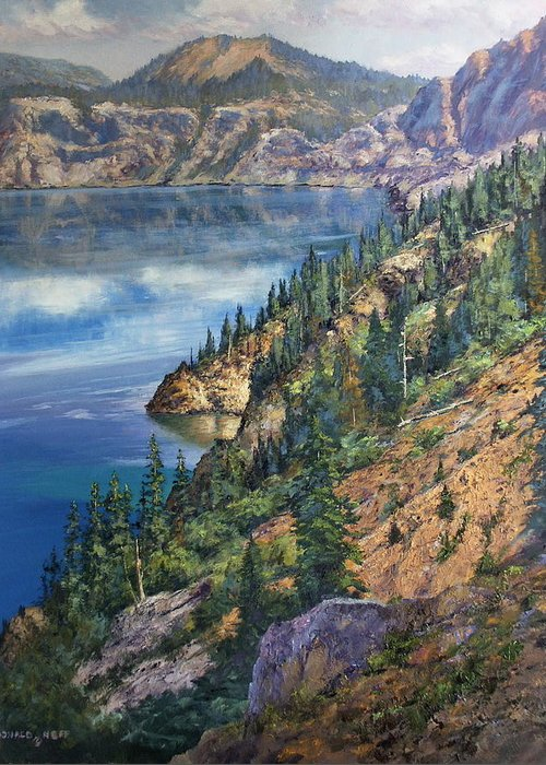 Crater Lake Oregon Greeting Card featuring the painting Crater Lake Overlook by Donald Neff