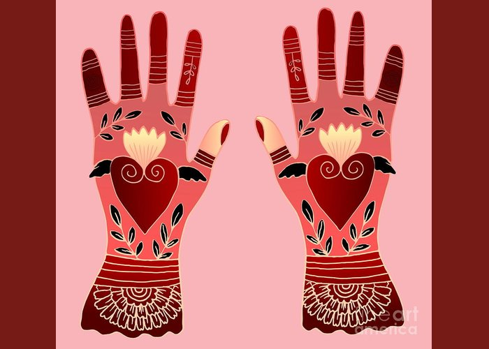 Hands Greeting Card featuring the digital art Creative Hands by Elaine Jackson