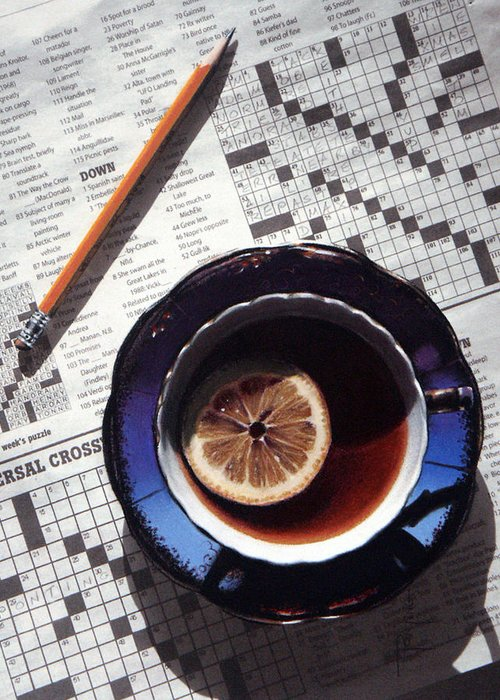 Still Life Greeting Card featuring the painting Crossword by Dianna Ponting