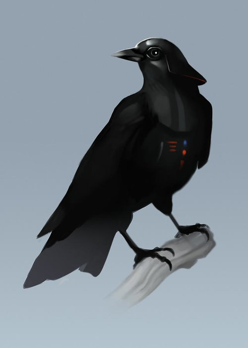 Birds Greeting Card featuring the digital art Crow Vader by Michael Myers