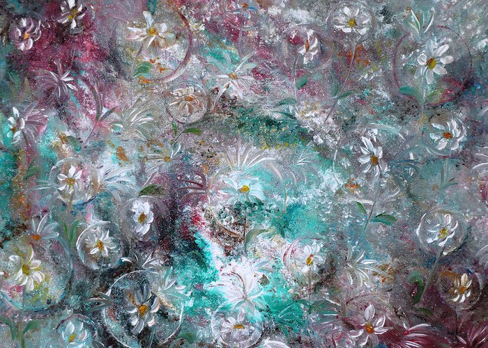 Original Flower Abstract Painting Greeting Card featuring the painting Daisy Dreamz by Karin Dawn Kelshall- Best