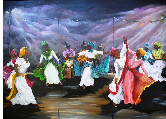 Caribbean Painting Original Painting Folklore Dance Painting Trinidad And Tobago Painting Dance Painting Tropical Painting Greeting Card featuring the painting Dance The Pique by Karin Dawn Kelshall- Best