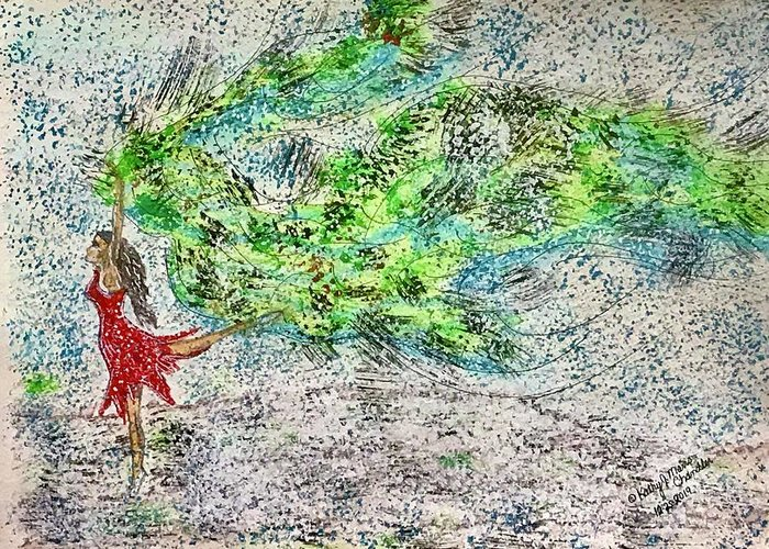 Dancing Greeting Card featuring the painting Dancing in The Blizzard by Kathy Marrs Chandler