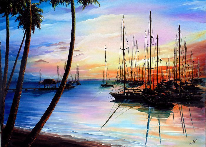 Ocean Painting Seascape Yacht Painting Sailboat Painting Sunset Painting Tropical Painting Caribbean Painting Yacht Painting At The End Of A Yachting Regatta At Pigeon Point Tobago Painting Greeting Card featuring the painting DAYS END Yachting Regatta At Pigeon Point Tobago by Karin Dawn Kelshall- Best