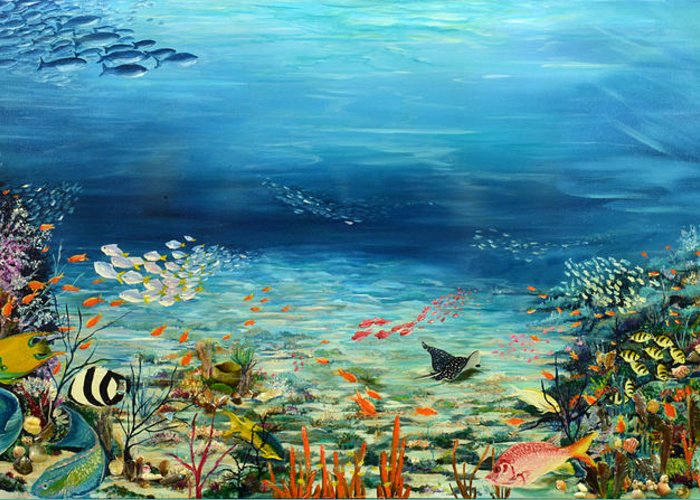 Ocean Painting Undersea Painting Coral Reef Painting Caribbean Painting Calypso Reef Painting Undersea Fishes Coral Reef Blue Sea Stingray Painting Tropical Reef Painting Tropical Painting Greeting Card featuring the painting Deep Blue Dreaming by Karin Dawn Kelshall- Best