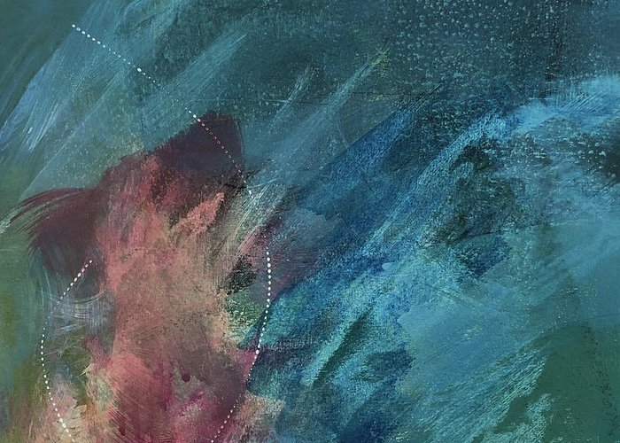 Abstract Greeting Card featuring the painting Depths of My Soul by Carolyn Rhinebarger