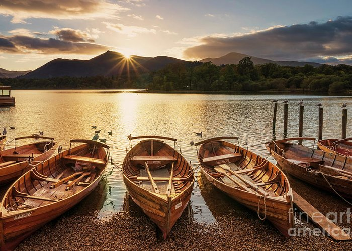 Tranquil Greeting Card featuring the photograph Derwent Water Rowing Boats, Keswick, English Lake District by Neale And Judith Clark