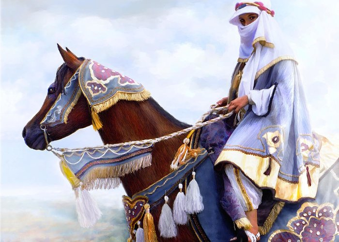 Horse Greeting Card featuring the painting Desert Arabian Native Costume Horse And Girl Rider by Connie Moses