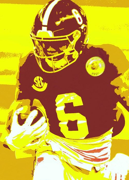 Devonta Smith Greeting Card featuring the painting DeVonta Smith by Jack Bunds