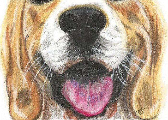 Dog Face Greeting Card featuring the painting Dog Face by Monica Resinger