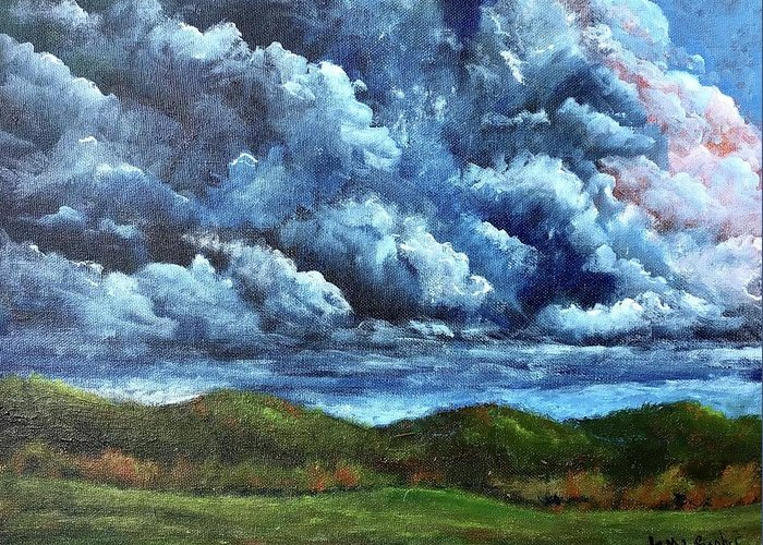 Cloud Greeting Card featuring the painting Dramatic by Tami Booher