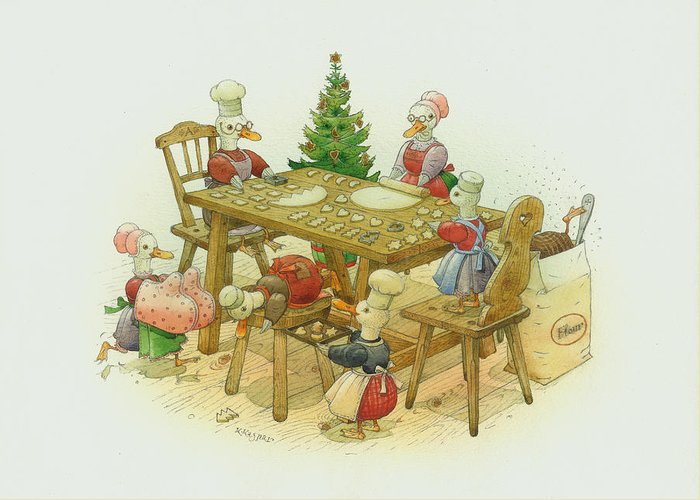 Christmas Duck Winter White Kitchen Holiday Greeting Card featuring the painting Ducks Christmas by Kestutis Kasparavicius