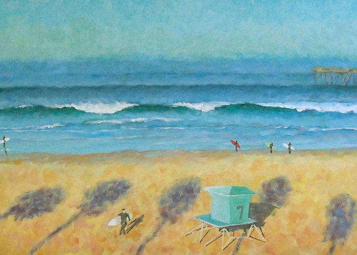 Life Guard Tower Greeting Card featuring the painting Tower Number Seven by Philip Fleischer