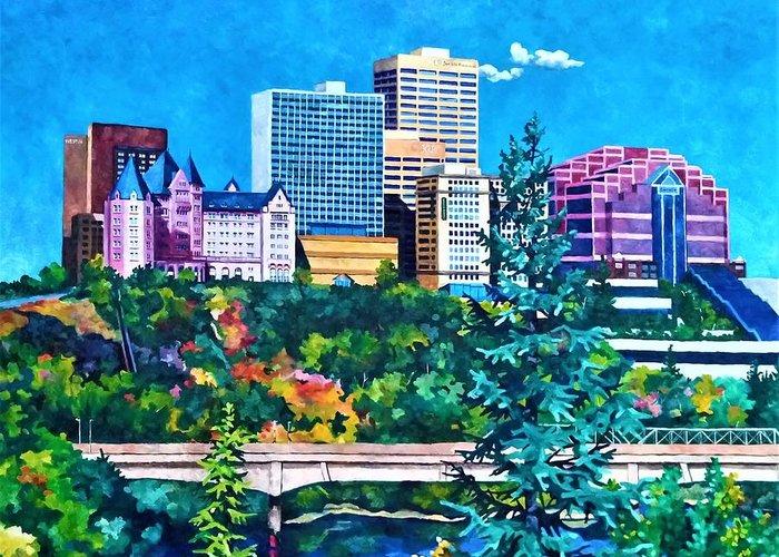 Cityscape Greeting Card featuring the painting Edmonton MacDonald Hotel by Nel Kwiatkowska
