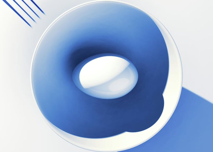 Egg Greeting Card featuring the digital art Egg and Bowl_electric blue after Cesare Onestini by Heike Remy