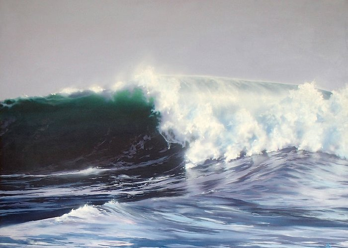Surf Painting Greeting Card featuring the painting Eight Foot At Newport by Philip Fleischer