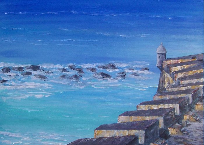 El Morro Fortress Greeting Card featuring the painting El Morro Fortress by Tony Rodriguez