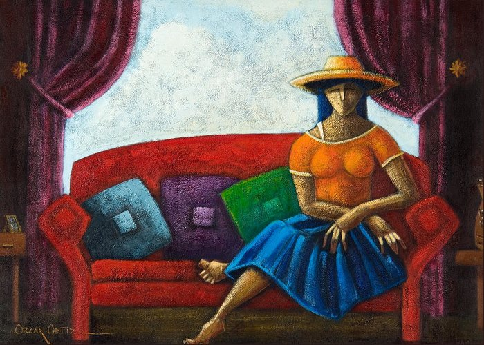 Puerto Rico Greeting Card featuring the painting El Ultimo Romance Del Verano by Oscar Ortiz